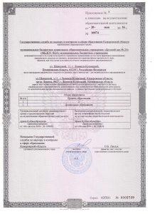 Лицензия на осуществление образовательной деятельности (приложение 1)